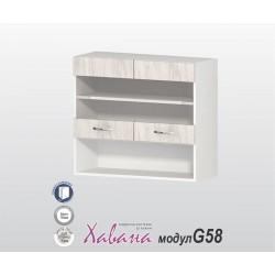 Горен кухненски шкаф Хавана G58 80 см. с витрина - дъб бланко