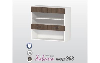Горен шкаф Хавана G58 80 см. с витрина - дъб марон