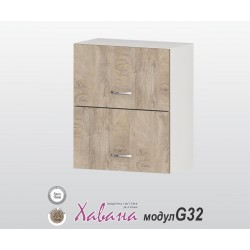 Горен кухненски шкаф с хоризонтални врати Хавана G32 60 см. - дъб норте