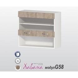 Горен кухненски шкаф Хавана G58 80 см. с витрина - дъб норте