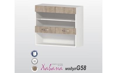 Горен шкаф Хавана G58 80 см. с витрина - дъб норте