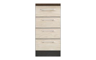Долен кухненски шкаф Ванеса B1 с чекмеджета - рокфорд лайт/дъб карбон - 40 см.