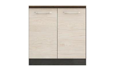 Долен кухненски шкаф Ванеса B2 с две врати - рокфорд лайт/дъб карбон - 80 см.