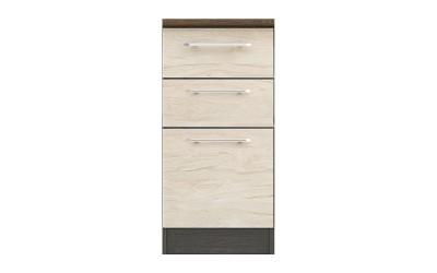 Долен кухненски шкаф Ванеса B25 с чекмеджета и врата - рокфорд лайт/дъб карбон - 40 см.