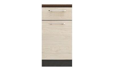 Долен кухненски шкаф Ванеса B74 с чекмедже и врата - рокфорд лайт/дъб карбон - 45 см.