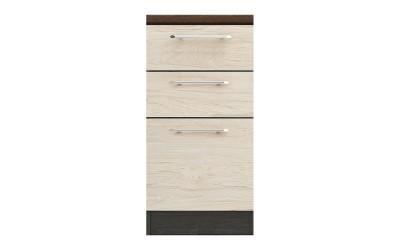 Долен кухненски шкаф Ванеса B76 с чекмеджета и врата - рокфорд лайт/дъб карбон - 45 см.