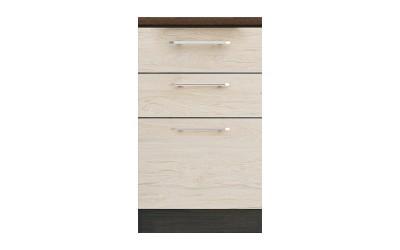 Долен кухненски шкаф Ванеса B77 с чекмеджета и врата - рокфорд лайт/дъб карбон - 50 см.