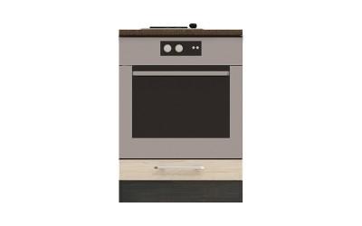 Долен кухненски шкаф Ванеса B7 за фурна - рокфорд лайт/дъб карбон- 60 см.