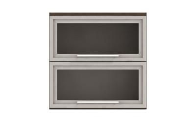 Горен кухненски шкаф Ванеса G36 с две клапващи витрини - дъб карбон - 60 см.