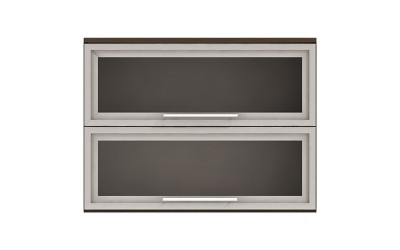 Горен кухненски шкаф Ванеса G37 с две клапващи витрини - дъб карбон - 80 см.