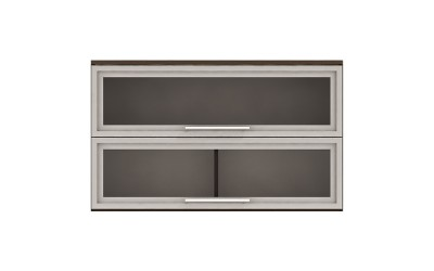 Горен кухненски шкаф Ванеса G38 с две клапващи витрини - дъб карбон - 100 см.
