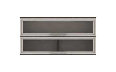Горен кухненски шкаф Ванеса G39 с две клапващи витрини - дъб карбон - 120 см.