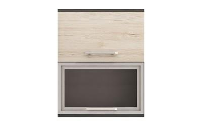 Горен кухненски шкаф Ванеса G40 с клапващи врата и витрина - рокфорд лайт/дъб карбон- 60 см.