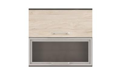 Горен кухненски шкаф Ванеса G41 с клапващи врата и витрина - рокфорд лайт/дъб карбон - 80 см.