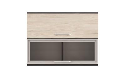 Горен кухненски шкаф Ванеса G42 с клапващи врата и витрина - рокфорд лайт/дъб карбон - 100 см.