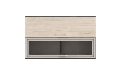 Горен кухненски шкаф Ванеса G43 с клапващи врата и витрина - рокфорд лайт/дъб карбон - 120 см.