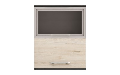 Горен кухненски шкаф Ванеса G44 с клапващи витрина и врата - рокфорд лайт/дъб карбон - 60 см.