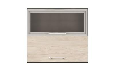 Горен кухненски шкаф Ванеса G45 с клапващи витрина и врата - рокфорд лайт/дъб карбон - 80 см.
