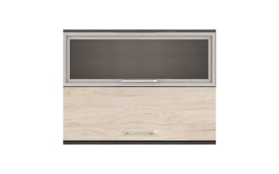 Горен кухненски шкаф Ванеса G46 с клапващи витрина и врата - рокфорд лайт/дъб карбон - 100 см.