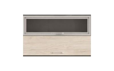 Горен кухненски шкаф Ванеса G47 с клапващи витрина и врата - рокфорд лайт/дъб карбон - 120 см.