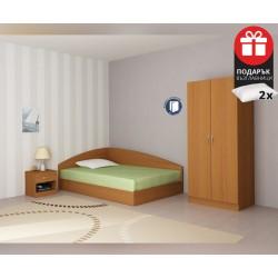 Спален комплект Аполо 1 - 120/190 - Орех - с включен матрак и подарък възглавници