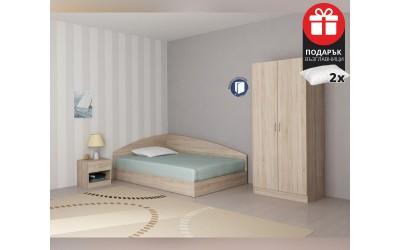 Спален комплект Аполо 1 - 120/190 - Дъб сонома - с включен матрак и подарък възглавници
