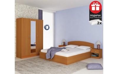 Спален комплект Аполо 3 - 160/200 - Орех - с включен матрак и възглавници