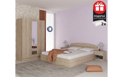 Спален комплект Аполо 3 - 160/200 - Дъб сонома - с включен матрак и възглавници