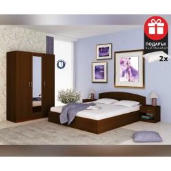 Спален комплект Аполо 3 - 160/200 - Венге Амбър - с включен матрак и възглавници