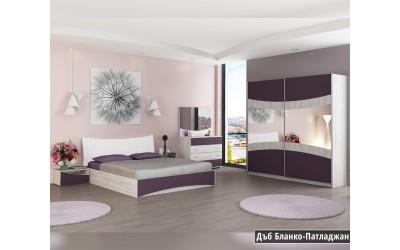 Спален комплект Сиена Н дъб бланко/патладжан