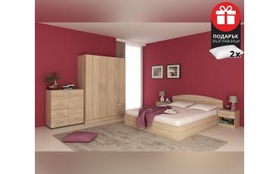 Спален комплект с матрак Аполо дъб сонома - с включен матрак и подарък възглавници