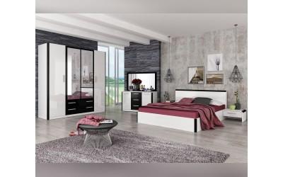 Спален комплект Дорадо Бяло гланц-Черно гланц