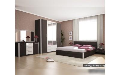 Спален комплект Дорадо тъмен дъб/бяло гланц