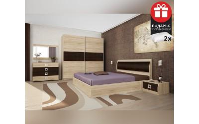 Спален комплект Дорис 160/200 - Дъб сонома/Венге - с включен матрак и подарък възглавници
