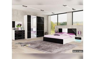 Спален комплект Кастел бяло/черно гланц