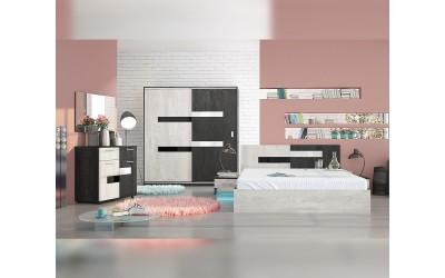 Спален комплект Вега - Силк неро/Силк лайт - с LED осветление