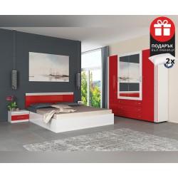 Спален комплект Валентина 160/200 - Бял/Червен гланц - с включен матрак и подарък възглавници