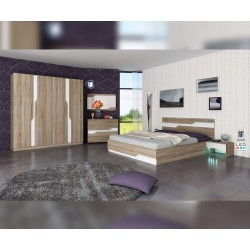 Спален комплект Виена с LED осветление - тъмна сонома/бяло
