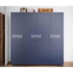 Четирикрилен гардероб Frenchy - МДФ Wave blue/Олд стайл - 203 см.