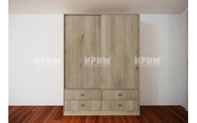 Двукрилен гардероб Сити 1027 - с плъзгащи врати и чекмеджета