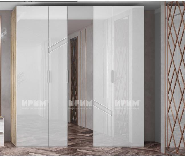 Трикрилен гардероб с огледало Ultra - МДФ Бяло гланц/Сонома арвен - 200 см.