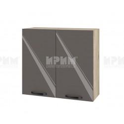 Кухненски горен шкаф с две врати Сити АРФ-Антрацит гланц-05-4 МДФ - 80 см.