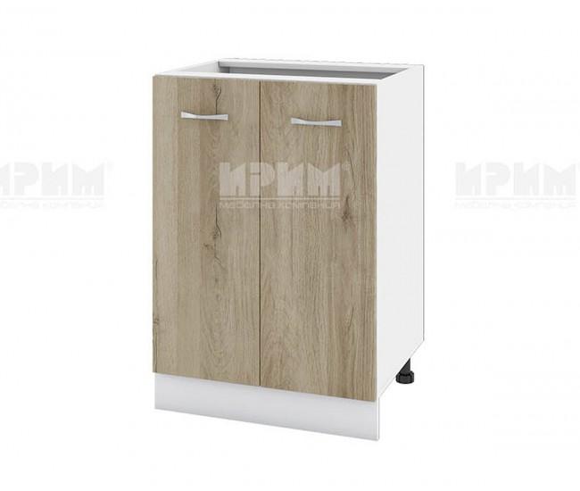 Долен кухненски шкаф Сити БДА-22 с две врати - 60 см. - сонома арвен/бяло гладко