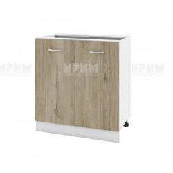 Долен кухненски шкаф Сити БДА-23 с две врати - 80 см. - сонома арвен/бяло гладко