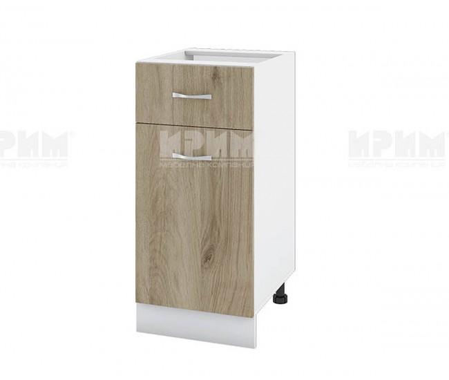 Долен кухненски шкаф Сити БДА-24 с врата и чекмедже - 40 см. - сонома арвен/бяло гладко
