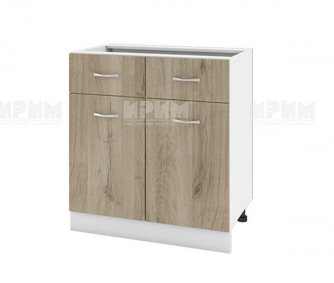 Долен кухненски шкаф Сити БДА-26 с две врати и чекмеджета - 80 см. - сонома арвен/бяло гладко