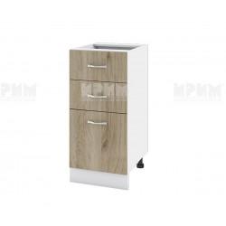 Долен кухненски шкаф Сити БДА-27 с две чекмеджета и врата - 40 см. - сонома арвен/бяло гладко