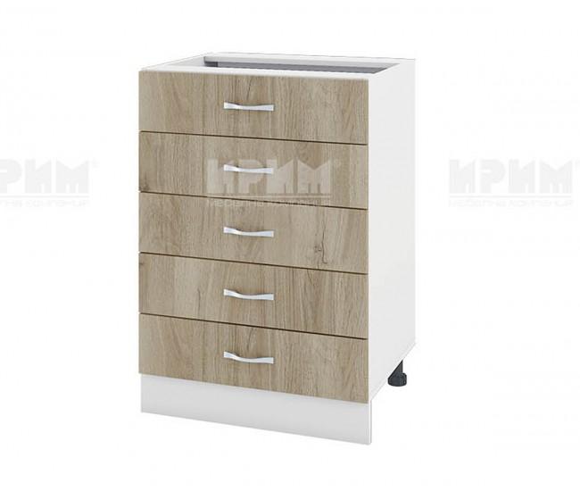 Долен кухненски шкаф Сити БДА-29 - 60 см. - сонома арвен/бяло гладко