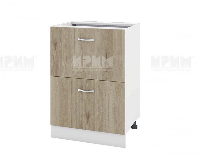 Долен кухненски шкаф Сити БДА-44 с две чекмеджета - 60 см. - сонома арвен/бяло гладко