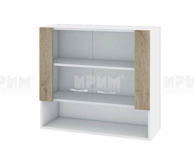Горен кухненски шкаф Сити БДА-10 с витринни врати - 80 см. - сонома арвен/бяло гладко